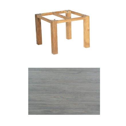 """SonnenPartner Tisch """"Base"""", Gestell Pure Teak, Tischplatte HPL Vintageoptik, 90x90 cm"""