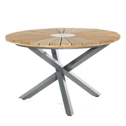 "SonnenPartner Tisch ""Base-Spectra"", Gestell Aluminium anthrazit, Tischplatte ""Sun"" Old Teak, Ø 130 cm"