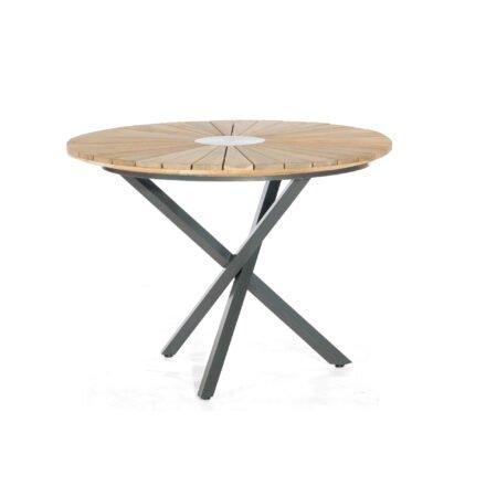 "SonnenPartner Tisch ""Base-Spectra"", Gestell Aluminium anthrazit, Tischplatte ""Sun"" Old Teak, Ø 100 cm"