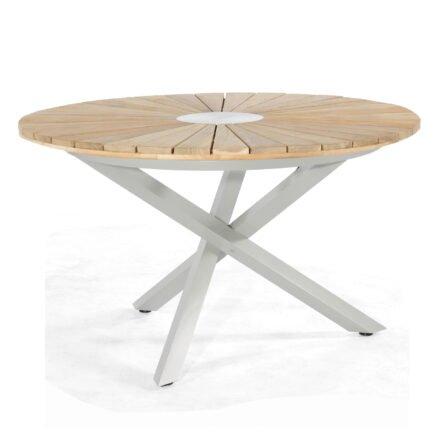 "SonnenPartner Tisch ""Base-Spectra"", Gestell Aluminium silber, Tischplatte ""Sun"" Old Teak, Ø 130 cm"