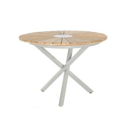 "SonnenPartner Tisch ""Base-Spectra"", Gestell Aluminium silber, Tischplatte ""Sun"" Old Teak, Ø 100 cm"