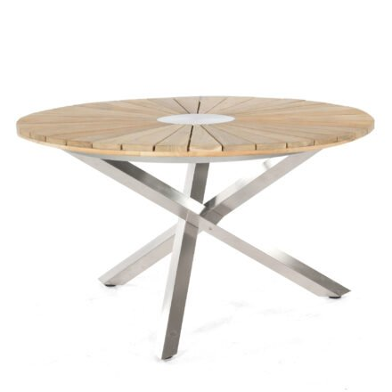 "SonnenPartner Tisch ""Base-Spectra"", Gestell Edelstahl, Tischplatte ""Sun"" Old Teak, Ø 130 cm"