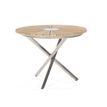 "SonnenPartner Tisch ""Base-Spectra"", Gestell Edelstahl, Tischplatte ""Sun"" Old Teak, Ø 100 cm"