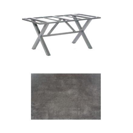 "SonnenPartner Tisch ""Base-Spectra"", Gestell Aluminium anthrazit, Tischplatte HPL Beton dunkel, 160x90 cm"