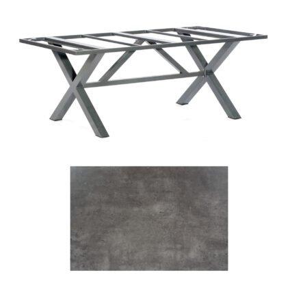 "SonnenPartner Tisch ""Base-Spectra"", Gestell Aluminium anthrazit, Tischplatte HPL Beton dunkel, 200x100 cm"