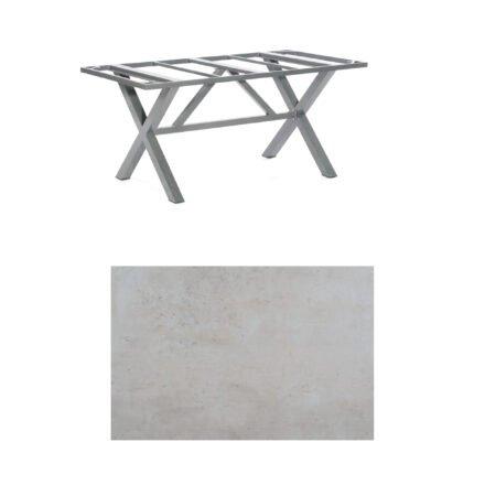 "SonnenPartner Tisch ""Base-Spectra"", Gestell Aluminium anthrazit, Tischplatte HPL Beton hell, 160x90 cm"