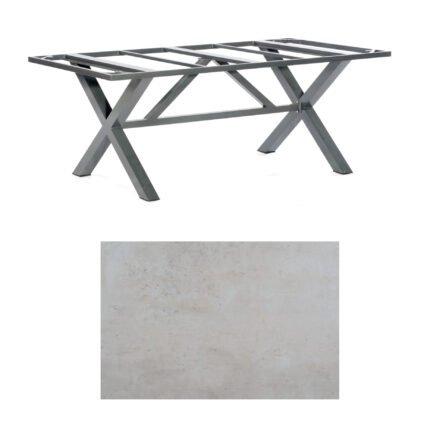 "SonnenPartner Tisch ""Base-Spectra"", Gestell Aluminium anthrazit, Tischplatte HPL Beton hell, 200x100 cm"