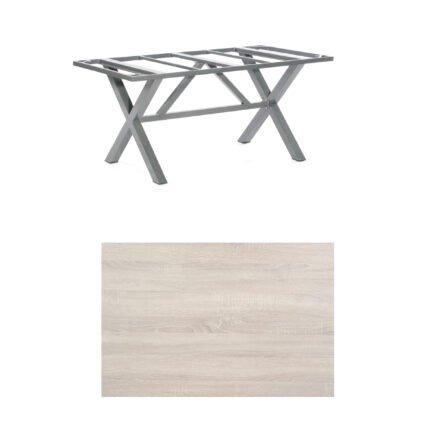 "SonnenPartner Tisch ""Base-Spectra"", Gestell Aluminium anthrazit, Tischplatte HPL Eiche sägerau, 160x90 cm"