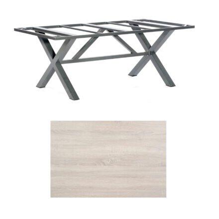 "SonnenPartner Tisch ""Base-Spectra"", Gestell Aluminium anthrazit, Tischplatte HPL Eiche sägerau, 200x100 cm"
