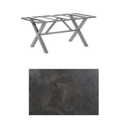 "SonnenPartner Tisch ""Base-Spectra"", Gestell Aluminium anthrazit, Tischplatte HPL Keramikoptik, 160x90 cm"