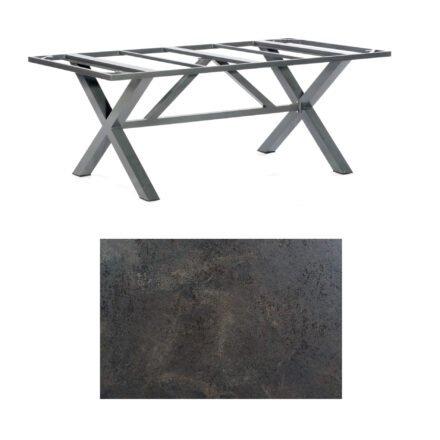 "SonnenPartner Tisch ""Base-Spectra"", Gestell Aluminium anthrazit, Tischplatte HPL Keramikoptik, 200x100 cm"
