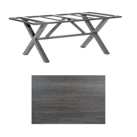 "SonnenPartner Tisch ""Base-Spectra"", Gestell Aluminium anthrazit, Tischplatte HPL Mali wenge, 200x100 cm"