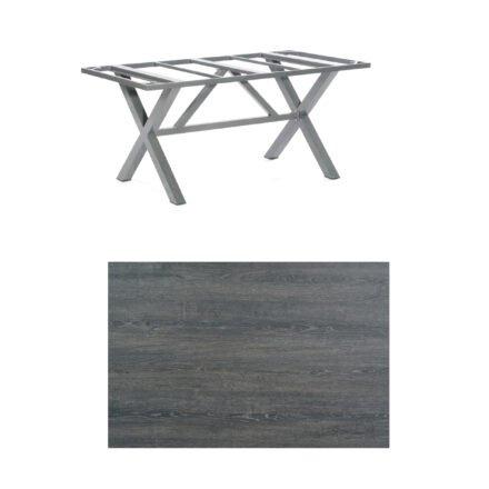 """SonnenPartner Tisch """"Base-Spectra"""", Gestell Aluminium anthrazit, Tischplatte HPL Pinie dunkel, 160x90 cm"""