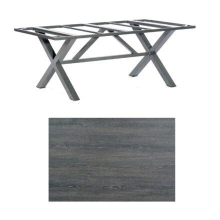 """SonnenPartner Tisch """"Base-Spectra"""", Gestell Aluminium anthrazit, Tischplatte HPL Pinie dunkel, 200x100 cm"""