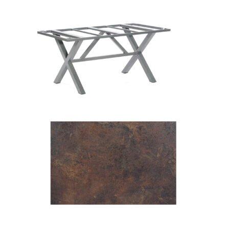 "SonnenPartner Tisch ""Base-Spectra"", Gestell Aluminium anthrazit, Tischplatte HPL Rostoptik, 160x90 cm"