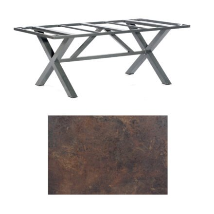 "SonnenPartner Tisch ""Base-Spectra"", Gestell Aluminium anthrazit, Tischplatte HPL Rostoptik, 200x100 cm"
