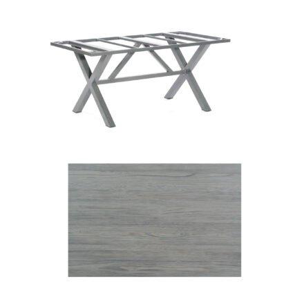 """SonnenPartner Tisch """"Base-Spectra"""", Gestell Aluminium anthrazit, Tischplatte HPL Vintageoptik, 160x90 cm"""
