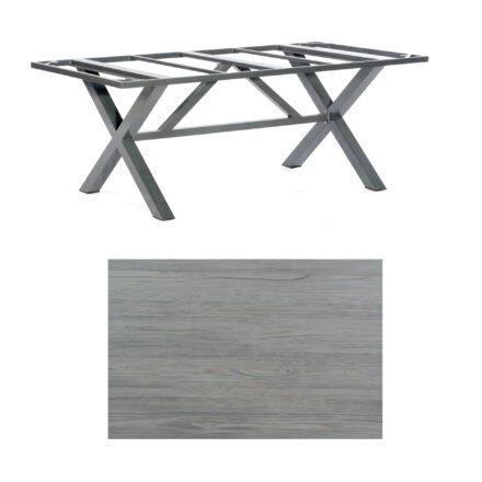 """SonnenPartner Tisch """"Base-Spectra"""", Gestell Aluminium anthrazit, Tischplatte HPL Vintageoptik, 200x100 cm"""