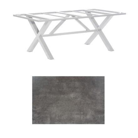 """SonnenPartner Tisch """"Base-Spectra"""", Gestell Aluminium silber, Tischplatte HPL Beton dunkel, 200x100 cm"""