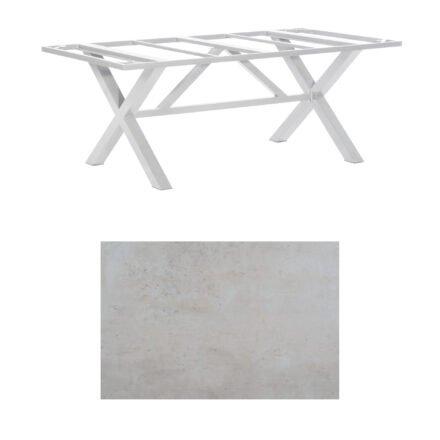 """SonnenPartner Tisch """"Base-Spectra"""", Gestell Aluminium silber, Tischplatte HPL Beton hell, 200x100 cm"""