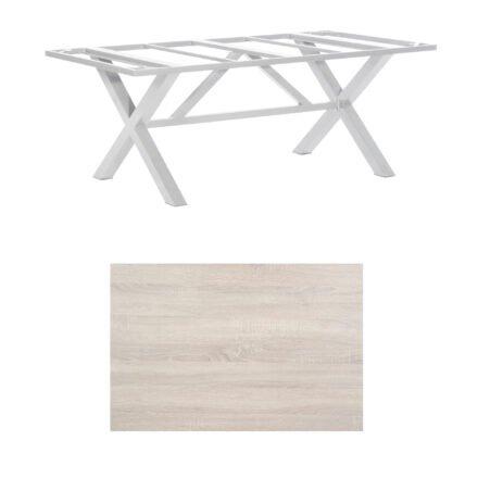 """SonnenPartner Tisch """"Base-Spectra"""", Gestell Aluminium silber, Tischplatte HPL Eiche sägerau, 200x100 cm"""