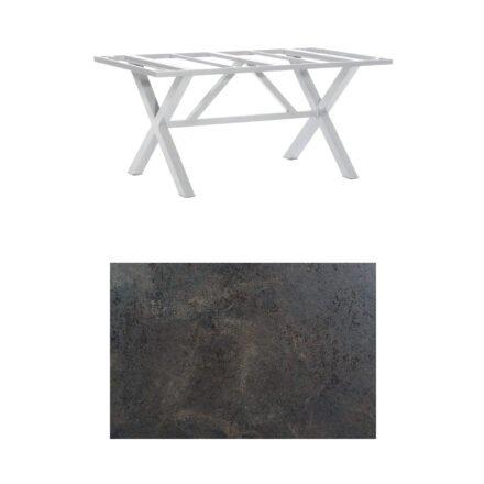 "SonnenPartner Tisch ""Base-Spectra"", Gestell Aluminium silber, Tischplatte HPL Keramikoptik, 160x90 cm"