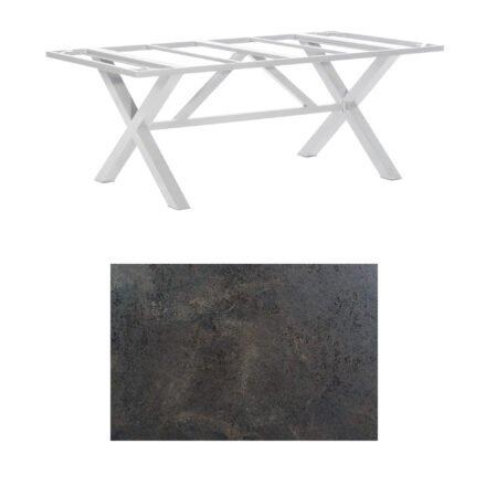 "SonnenPartner Tisch ""Base-Spectra"", Gestell Aluminium silber, Tischplatte HPL Keramikoptik, 200x100 cm"
