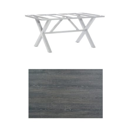 "SonnenPartner Tisch ""Base-Spectra"", Gestell Aluminium silber, Tischplatte HPL Pinie dunkel, 160x90 cm"