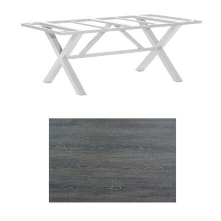 "SonnenPartner Tisch ""Base-Spectra"", Gestell Aluminium silber, Tischplatte HPL Pinie dunkel, 200x100 cm"