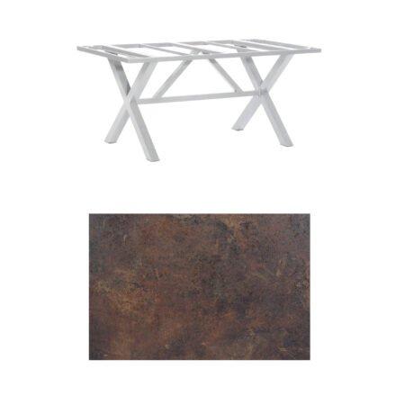 "SonnenPartner Tisch ""Base-Spectra"", Gestell Aluminium silber, Tischplatte HPL Rostoptik, 160x90 cm"