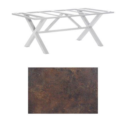 "SonnenPartner Tisch ""Base-Spectra"", Gestell Aluminium silber, Tischplatte HPL Rostoptik, 200x100 cm"