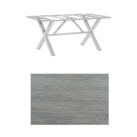 "SonnenPartner Tisch ""Base-Spectra"", Gestell Aluminium silber, Tischplatte HPL Vintageoptik, 160x90 cm"