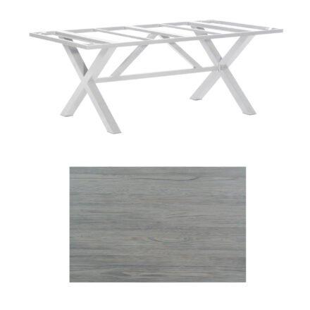 "SonnenPartner Tisch ""Base-Spectra"", Gestell Aluminium silber, Tischplatte HPL Vintageoptik, 200x100 cm"