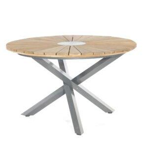 """SonnenPartner Tisch """"Base-Spectra"""", rund, Gestell Alu anthrazit, Tischplatte Old Teak Sun Design, Ø 134 cm"""