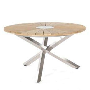 """SonnenPartner Tisch """"Base-Spectra"""", rund, Gestell Edelstahl, Tischplatte Old Teak Sun Design, Ø 134 cm"""