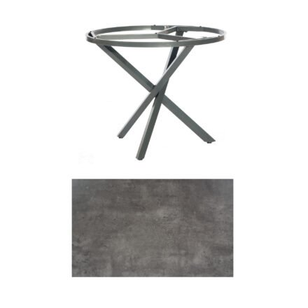 "SonnenPartner Tisch ""Base-Spectra"", rund, Gestell Aluminium anthrazit, Tischplatte HPL Beton dunkel, Ø 100 cm"