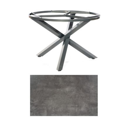 "SonnenPartner Tisch ""Base-Spectra"", rund, Gestell Aluminium anthrazit, Tischplatte HPL Beton dunkel, Ø 134 cm"