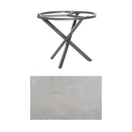 "SonnenPartner Tisch ""Base-Spectra"", rund, Gestell Aluminium anthrazit, Tischplatte HPL Beton hell, Ø 100 cm"