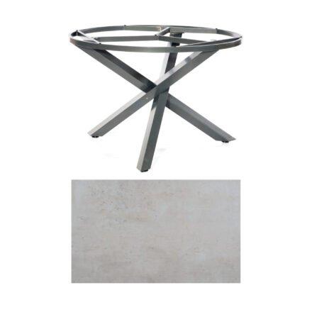 "SonnenPartner Tisch ""Base-Spectra"", rund, Gestell Aluminium anthrazit, Tischplatte HPL Beton hell, Ø 134 cm"