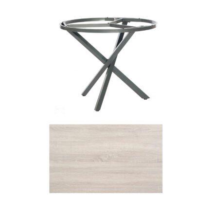 """SonnenPartner Tisch """"Base-Spectra"""", rund, Gestell Aluminium anthrazit, Tischplatte HPL Eiche sägerau, Ø 100 cm"""