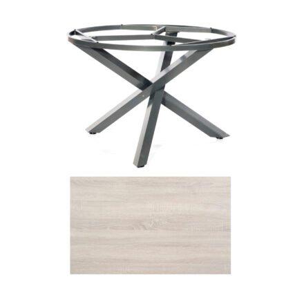 """SonnenPartner Tisch """"Base-Spectra"""", rund, Gestell Aluminium anthrazit, Tischplatte HPL Eiche sägerau, Ø 134 cm"""