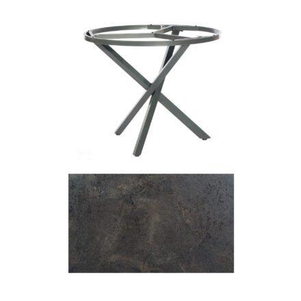 """SonnenPartner Tisch """"Base-Spectra"""", rund, Gestell Aluminium anthrazit, Tischplatte HPL Keramikoptik, Ø 100 cm"""