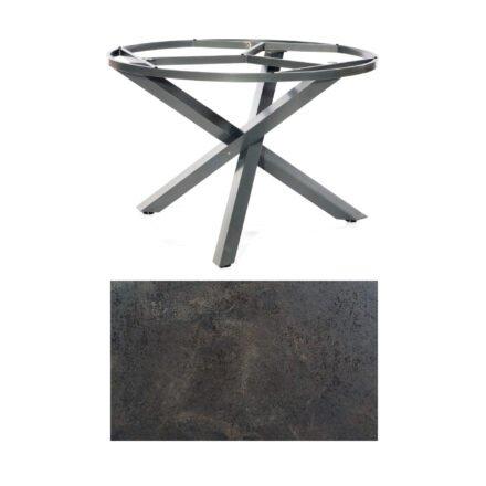 """SonnenPartner Tisch """"Base-Spectra"""", rund, Gestell Aluminium anthrazit, Tischplatte HPL Keramikoptik, Ø 134 cm"""