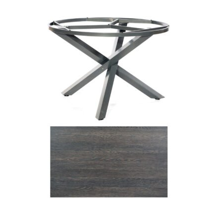 """SonnenPartner Tisch """"Base-Spectra"""", rund, Gestell Aluminium anthrazit, Tischplatte HPL Mali wenge, Ø 134 cm"""