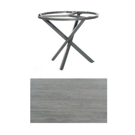 """SonnenPartner Tisch """"Base-Spectra"""", rund, Gestell Aluminium anthrazit, Tischplatte HPL Vintageoptik, Ø 100 cm"""