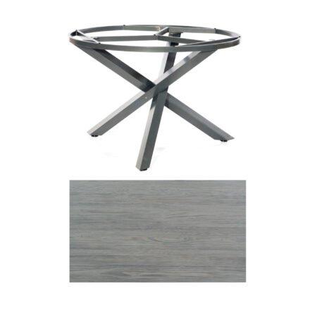 """SonnenPartner Tisch """"Base-Spectra"""", rund, Gestell Aluminium anthrazit, Tischplatte HPL Vintageoptik, Ø 134 cm"""