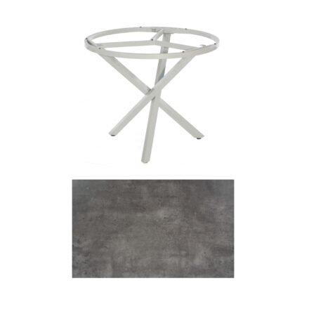 "SonnenPartner Tisch ""Base-Spectra"", rund, Gestell Aluminium silber, Tischplatte HPL Beton dunkel, Ø 100 cm"