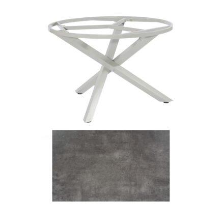 "SonnenPartner Tisch ""Base-Spectra"", rund, Gestell Aluminium silber, Tischplatte HPL Beton dunkel, Ø 134 cm"