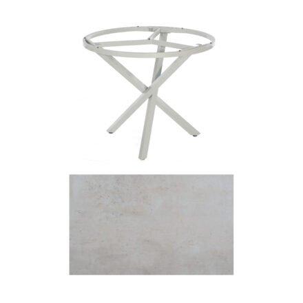 "SonnenPartner Tisch ""Base-Spectra"", rund, Gestell Aluminium silber, Tischplatte HPL Beton hell, Ø 100 cm"
