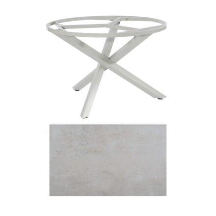 "SonnenPartner Tisch ""Base-Spectra"", rund, Gestell Aluminium silber, Tischplatte HPL Beton hell, Ø 134 cm"